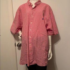 Ralph Lauren red & white checked pattern shirt